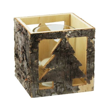 Wooden Cube Festive Votive Candle Holder Christmas with Tree Cut Out Design